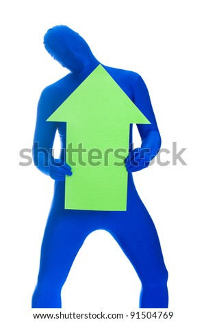 A faceless man in a blue body suit holding a green arrow pointing up.