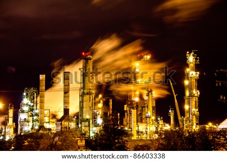 A factory in full operation during the night in Regina, Canada
