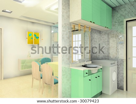 a faddish kitchen and washing room
