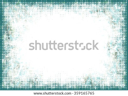 A faded grunge frame background in green on white with halftone effect and copy space - stock photo