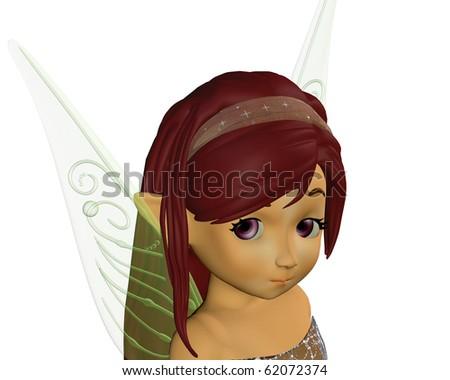 a fairy elf portrait 3D render - stock photo