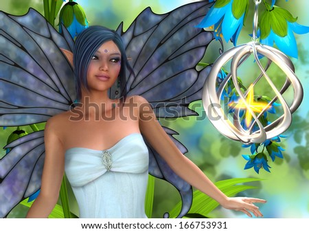 A fairy with blue bells, magic lantern, and blue wings and hair. - stock photo