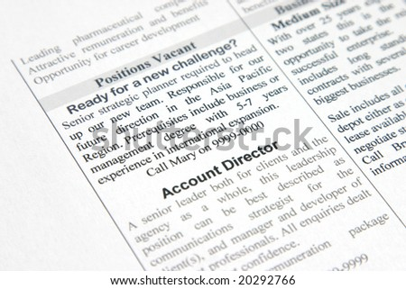 A fake positions vacant advertisement for strategic planner and account director