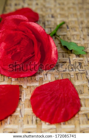 a fake rose with a real stalk  - stock photo