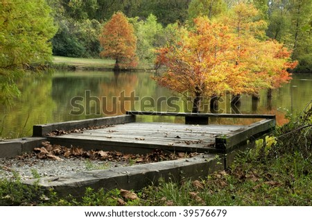 A fall Cypress tree water reflection at a fishing pier, horizontal with selective focus - stock photo