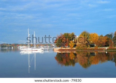a Fall Day at Snug harbor in Sturgeon Bay in Door County, Wisconsin - stock photo