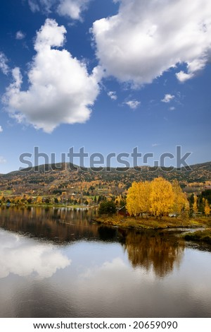 A fall landscape in Geithus, Norway