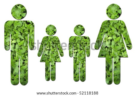 A family made up of green leaves to symbolize environmental issues. - stock photo