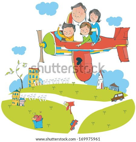 A family of four in a plane flying over a grassy area with a few buildings.
