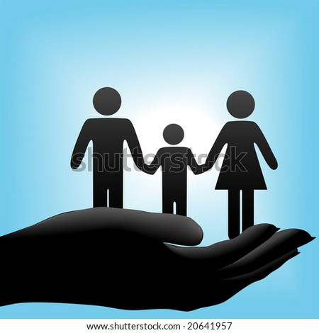 A family of mother, father, child symbols are held in a cupped hand on a blue background. - stock photo