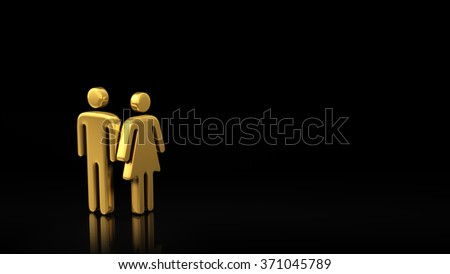 A family of two people, a couple. The concept of a small family. Common interests of men and women. Gold symbols of man and woman on a black background with copyspace for text. 3D illustration image - stock photo