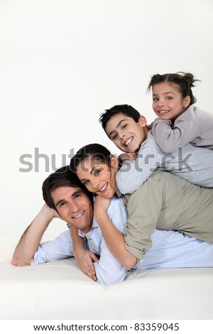 a family pyramid - stock photo