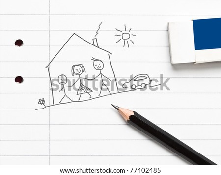 A family under a house sketched with pencil on a notebook - stock photo