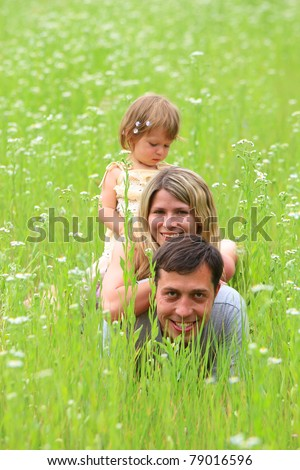 A family with a child on the grass