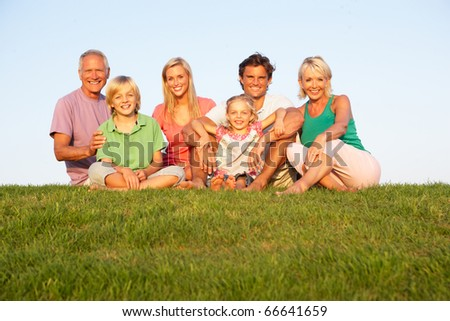 A family, with parents, children and grandparents, posing in a field - stock photo