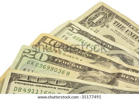 A fan of cash.  A one, five, ten, twenty, and a hundred dollar bill. - stock photo