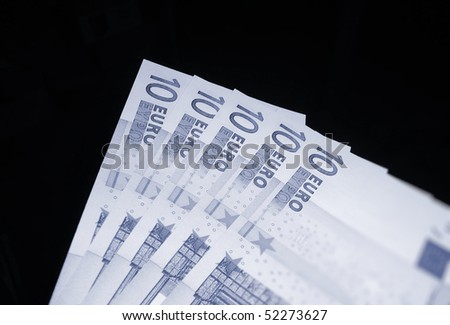 A fan of 10 Euro currency bank notes