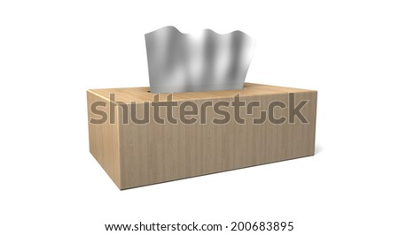 A fancy tissue box made of butcher block wood with tissues - stock photo