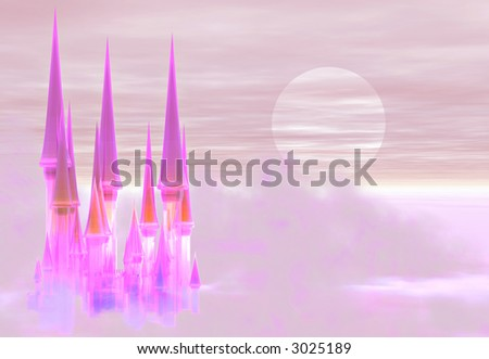 A fantastic fairy castle floating in the clouds at sunset - stock photo