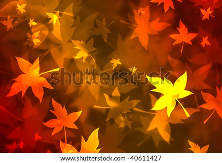 A fantastic fall background with orange and golden leaves - stock photo