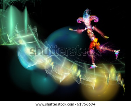 A fantastic, shining jester hurries. Digital illustration - stock photo