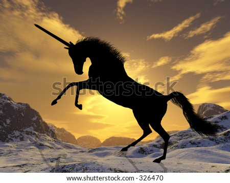 A fantastic unicorn silhouetted against the sunset - stock photo