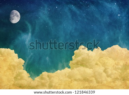A fantasy cloudscape with a moon and stars overlaid with a vintage, textured paper background.  Image displays a pleasing paper grain at 100%. - stock photo