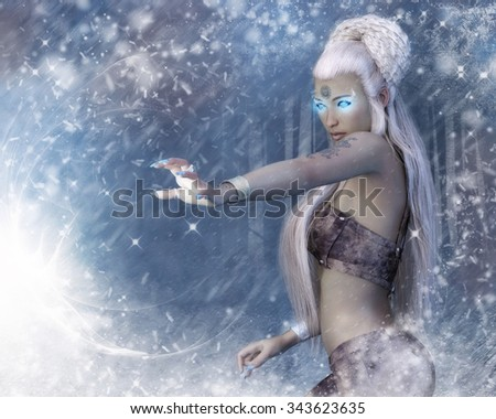 A fantasy image with a woman with glowing eyes and magic in the center of swirling snow and frost.