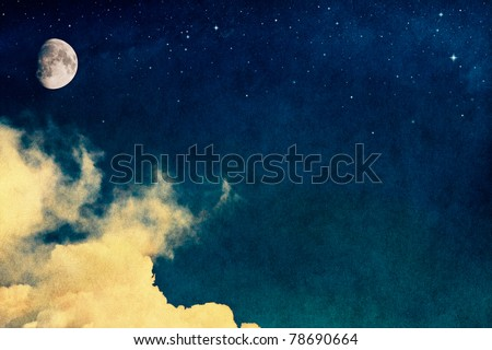 A fantasy rendition of clouds and fog with stars and the moon overlaid with a vintage, textured watercolor paper background. - stock photo