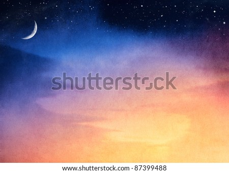A fantasy sunset with a dark blue to yellow gradient.  Image has a pleasing paper texture and grain visible at 100%. - stock photo