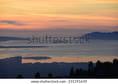 a far view of bay area of San Francisco during sunset - stock photo