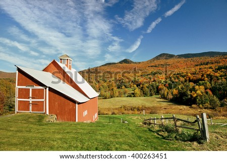 A farm house and Autumn foliage in New England - stock photo