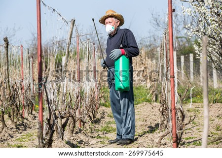A farmer sprays his vineyard. He is wearing protective equipment. Selective focus - stock photo
