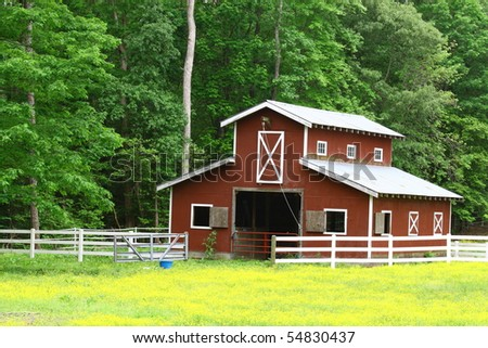 A farmers barn in a field of buttercups with room for your text - stock photo