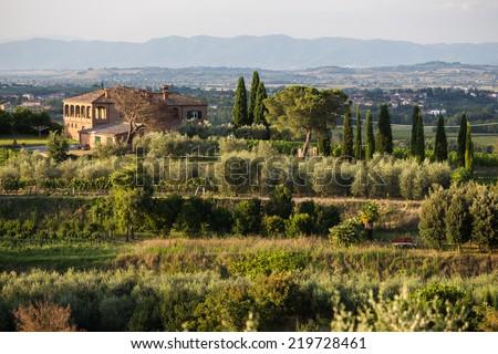 a farmhouse villa in tuscany - stock photo