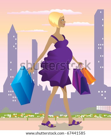 A fashionable pregnant woman with shopping bags - stock photo