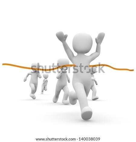 A fast character winning a marathon run. - stock photo