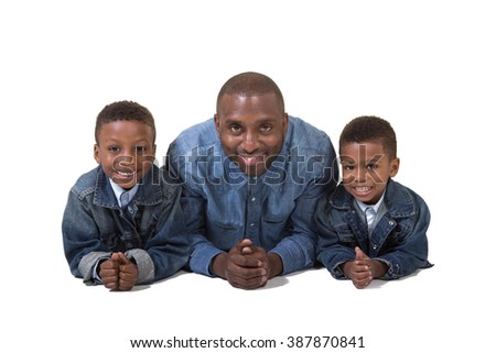A father and his sons  - stock photo