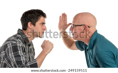 a father gives his son a slap on the white background - stock photo