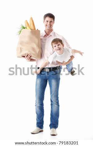 A father holding his son and the food package is isolated