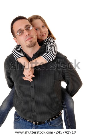 A father in carrying his young daughter on his back, isolated on white background.  - stock photo