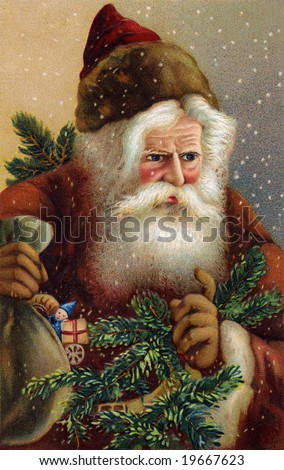 A Fatherly Santa Claus on a snowy Christmas eve - A Victorian illustration - stock photo