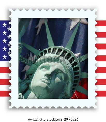 A faux stamp superimposed over the stars and stripes