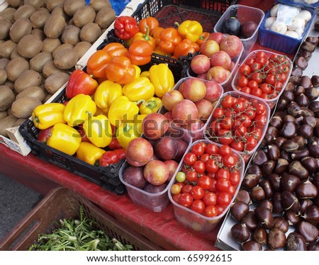 A feast  of fruit and vegetables at the local market