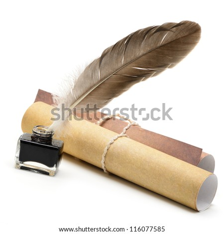 A feather pen, ink,rolls of old yellowed paper. Isolated on a white background. - stock photo