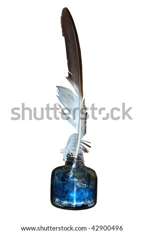 a feather quill and a display ink pot, isolated on a pure white background - stock photo