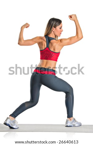 A female athlete isolated on a white background - stock photo