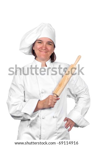 A female chef in her chef's whites isolated on white. - stock photo