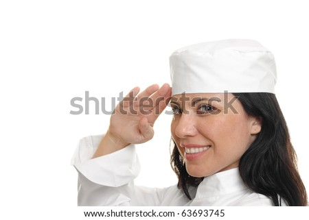 A female chef saluting and smiling.   She is on a white background.