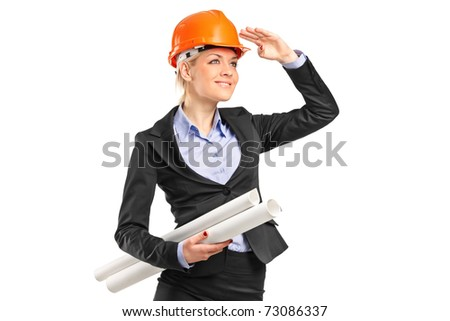 A female construction worker wearing helmet and holding blueprints isolated on white background
